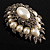 Oversized Vintage Corsage Faux Pearl Brooch (Light Cream) - view 4