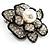 Bridal Faux Pearl Crystal Flower Brooch (Black & Silver) - view 7
