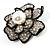 Bridal Faux Pearl Crystal Flower Brooch (Black & Silver) - view 6