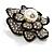 Bridal Faux Pearl Crystal Flower Brooch (Black & Silver) - view 3