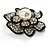 Bridal Faux Pearl Crystal Flower Brooch (Black & Silver) - view 8