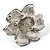 Bridal Faux Pearl Crystal Flower Brooch (Black & Silver) - view 4