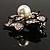 Bridal Faux Pearl Crystal Flower Brooch (Black & Silver) - view 5