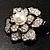 Bridal Faux Pearl Crystal Flower Brooch (Black & Silver) - view 9