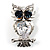 Stunning CZ Owl Brooch (Silver Tone) - view 1