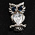 Stunning CZ Owl Brooch (Silver Tone) - view 2
