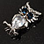 Stunning CZ Owl Brooch (Silver Tone) - view 5