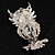 Stunning CZ Owl Brooch (Silver Tone) - view 7