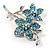 Sky Blue Swarovski Crystal Flower Brooch (Silver Tone)