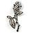 Vintage Crystal Rose Brooch (Black Tone)