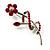 Red Crystal Daisy Brooch (Silver Tone)