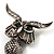 Charming Marcasite Crystal Owl Brooch - view 3