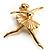 'Dancing Ballerina' Fashion Brooch (Gold Tone)