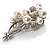 Faux Pearl Floral Brooch (Silver & White) - view 9