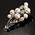 Faux Pearl Floral Brooch (Silver & White) - view 5