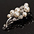 Faux Pearl Floral Brooch (Silver & White) - view 6