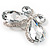 Statement Oversized Clear Crystal Butterfly Brooch (Silver Tone) - view 3