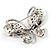 Statement Oversized Clear Crystal Butterfly Brooch (Silver Tone) - view 6