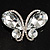 Statement Oversized Clear Crystal Butterfly Brooch (Silver Tone) - view 4