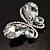 Statement Oversized Clear Crystal Butterfly Brooch (Silver Tone) - view 2