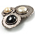 Three Rounds with Black, Light Cream and White Stones Brooch - view 5