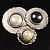 Three Rounds with Black, Light Cream and White Stones Brooch - view 2