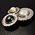 Three Rounds with Black, Light Cream and White Stones Brooch - view 4