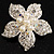 Bridal Imitation Pearl Crystal Flower Brooch (Silver Tone)