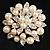 Stunning Wedding Imitation Pearl AB Crystal Corsage Brooch (Silver Tone) - view 2