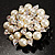 Stunning Wedding Imitation Pearl AB Crystal Corsage Brooch (Silver Tone) - view 8