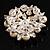 Stunning Wedding Imitation Pearl AB Crystal Corsage Brooch (Silver Tone) - view 7