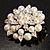 Stunning Wedding Imitation Pearl AB Crystal Corsage Brooch (Silver Tone) - view 9