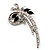 Abstract Floral Crystal Brooch (Silver Tone)