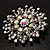Sparkling AB Crystal Corsage Brooch (Silver Tone) - view 5
