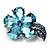 Tiny Light Blue CZ Flower Pin Brooch