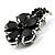 Tiny Jet Black CZ Flower Pin Brooch - view 2