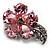 Tiny Pink CZ Flower Pin Brooch