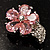 Tiny Pink CZ Flower Pin Brooch - view 8