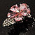 Tiny Pink CZ Flower Pin Brooch - view 7