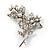 Crystal Faux Pearl Butterfly Brooch (Silver Tone)