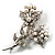 Crystal Faux Pearl Butterfly Brooch (Silver Tone) - 45mm Tall - view 5