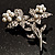 Crystal Faux Pearl Butterfly Brooch (Silver Tone) - 45mm Tall - view 4
