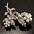 Crystal Faux Pearl Butterfly Brooch (Silver Tone) - 45mm Tall - view 7