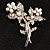 Crystal Faux Pearl Butterfly Brooch (Silver Tone) - 45mm Tall - view 2