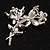 Crystal Faux Pearl Butterfly Brooch (Silver Tone) - 45mm Tall - view 6