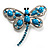 Turquoise Stone Crystal Butterfly Brooch