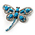 Turquoise Stone Crystal Butterfly Brooch - view 8