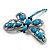 Turquoise Stone Crystal Butterfly Brooch - view 3