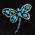 Turquoise Stone Crystal Butterfly Brooch - view 2