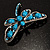 Turquoise Stone Crystal Butterfly Brooch - view 7